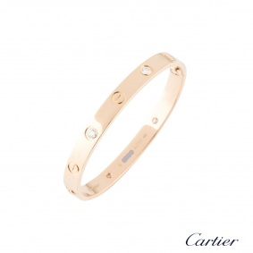 Cartier Rose Gold Half Diamond Love Bracelet Size 16 B6036016